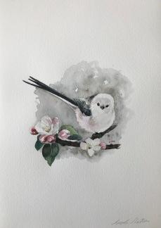 Sjärtmes med äppelblommor av Ingela Matsson