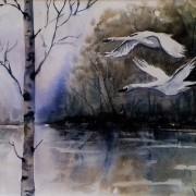 Två flygande svanar av Tanya Lundmark