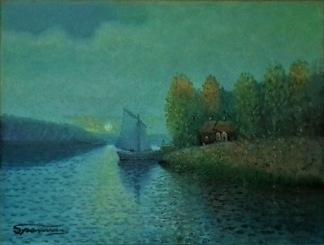 Segelbåt vid brygga av Bengt Sparring