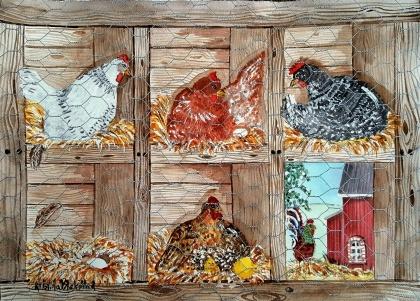 Hönor i hönsgården av Kristina Blakstad, akvarell. Pris: 2700 kr