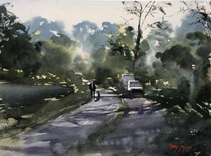 Morgondis, Frankrike av Benny Stigsson. Akvarell. Pris 5300 kr
