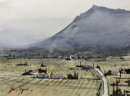 Utsikt, Toscana av Benny Stigsson. Akvarell. Pris 5300 kr