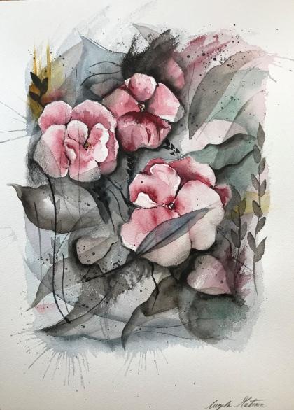 Penséer av Ingela Matsson. Akvarell. Pris 1100 kr