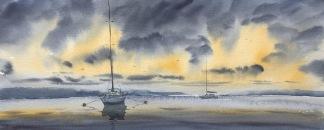 Solnedgång vid havet av Benny Stigsson