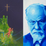 Innocent X, jesus child & Sigmung Freud. acrylic on panel. 30x40cm. 2010