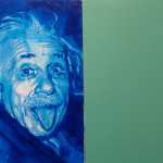 Innocent X, satellite, Einstein, green screen & star sky. acrylic on panel. 30x80cm. 2010
