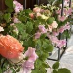 Låga arrangemang på borden med vaser i olika former.