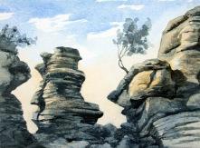 studie i ton med två färger, Brimham Rocks