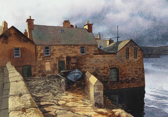 'Jimmy Perez hus'. Akvarell, Philip Nicholson