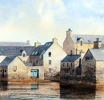 The Lodberries, Lerwick. Akvarell, Philip Nicholson