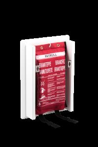 Brinte Filt är en designad hållare för brandfilt som smälter in i mordernade inredning