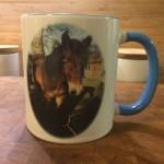 Mugg med distriktets logga och bild på din/dina hästar. 100:-/st  Kontakta Annika för mer info och beställning, ring 0706-774138 eller maila info@profilbroderi.se
