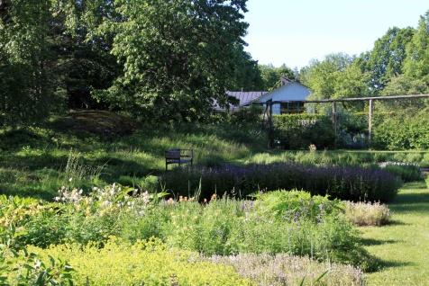 Örtagård med en skymt av restaurangbyggnaden Linden
