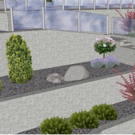 Stödmurar mellan terrasseringar