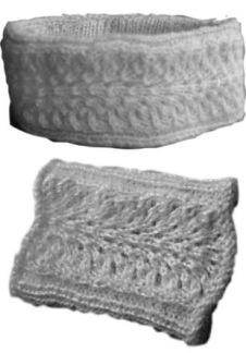 Hålmönstrad pannband och handledsvärmare -