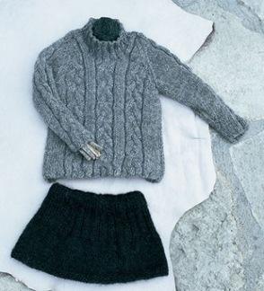Flätstickad tröja och kjol -