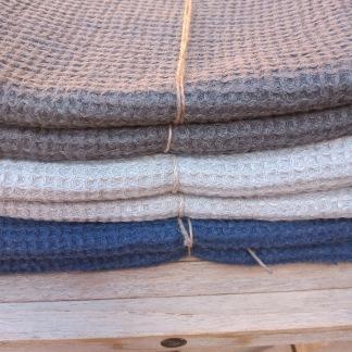 Handduk lin - Våfflad handduk  Ljusgrå 50*65