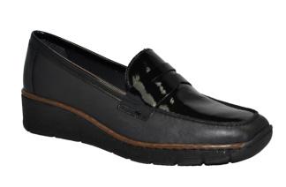 Rieker promenadsko skinn svart med lack - Storlek 37