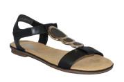 Rieker Sandal med dekorativa plattor svart