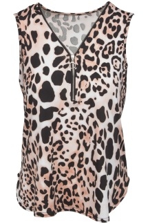 Chica London Linne med zip rosa leo - One Size