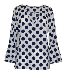 Chica London Topp med prickar och volangärm - One Size