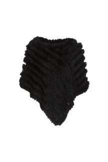 Hollies Poncho med päls svart - One Size