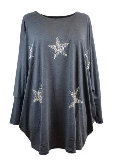 Chica London Oversized topp med stjärnor - One size