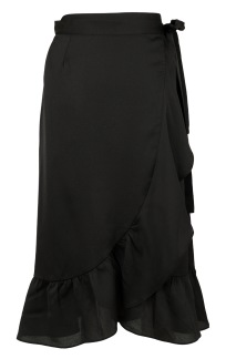 Neo Noir Mika Wrap Skirt Solid Black - XS
