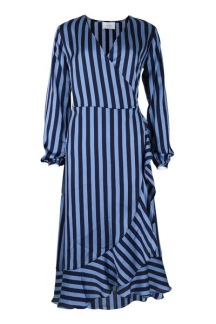 Neo Noir Riva Broad Stripe Wrap Dress - S