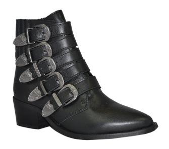 Pavement Boots i skinn med silverspännen - Storlek 36