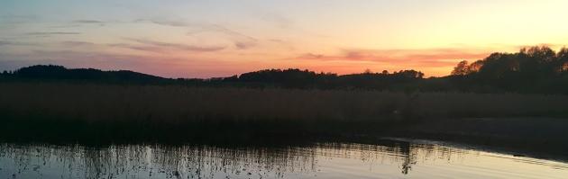Solnedgång vid Kaggfjärden.