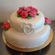 Bröllp, 2 våningar rosa rosor