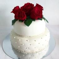 Bröllop 2 våningar, färska rosor