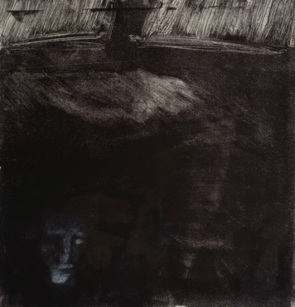 'The Seafarer', monoprint on Japanese paper from the poem 'The Seafarer' in 'The Book of Exeter'.