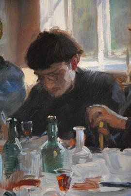 """Johan Krouthén i Skagen 1883. Detalj av målningen """"Kunstnerfrokosten"""" av P.S. Krøyer, Skagens museum"""