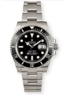 Rolex Steel No-Date Submariner Watch - Black Dial
