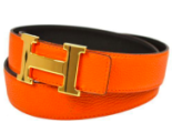 Hermes Belt - Orange/Gold