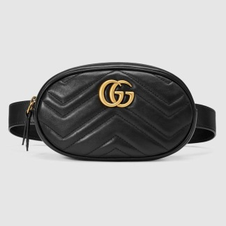 GG marmont matelasse belt bag - Black