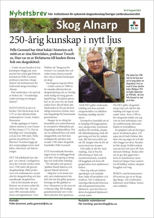 Nyhetsbrevet från Institutionen för sydsvensk skogsvetenskap/Sveriges Lantbruksuniversitet