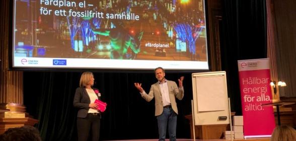 Per Holm och Pernilla Winnhed från Energiföretagen Sverige presenterade färdplanen.