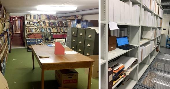 Till vänster: En del av arkivet innan hämtningen från källarlokalen hos Econova. Till höger: Från arbetet i arkivmagasinet med att sortera och katalogisera det stora materialet.