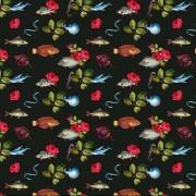 Sotsvart trikå med fiskar