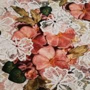 Nr 7 Trikå med tryckta broderade rosor 30 cm