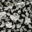 Crepe, svart med vita blommor