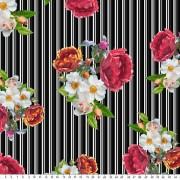 Kritstreckrandig med blommor