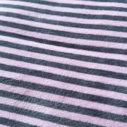 Ljusrosa/grå randig velour