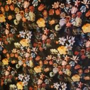 Svart med blommor Velour