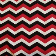 Trikå Röd Zigzag, färdigklippta 1-meters bitar