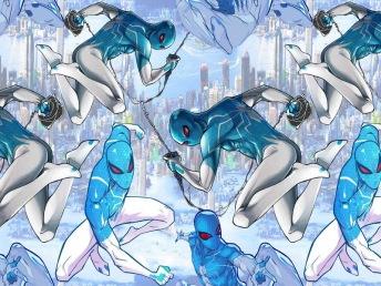 Blå Spiderman Inspirerad Trikå