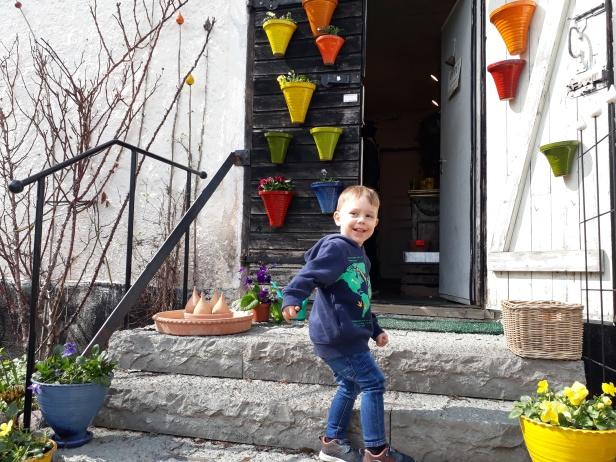Glad Julius påväg in till Tina Hellman, keramikern på Sturehofs Krukmakeri